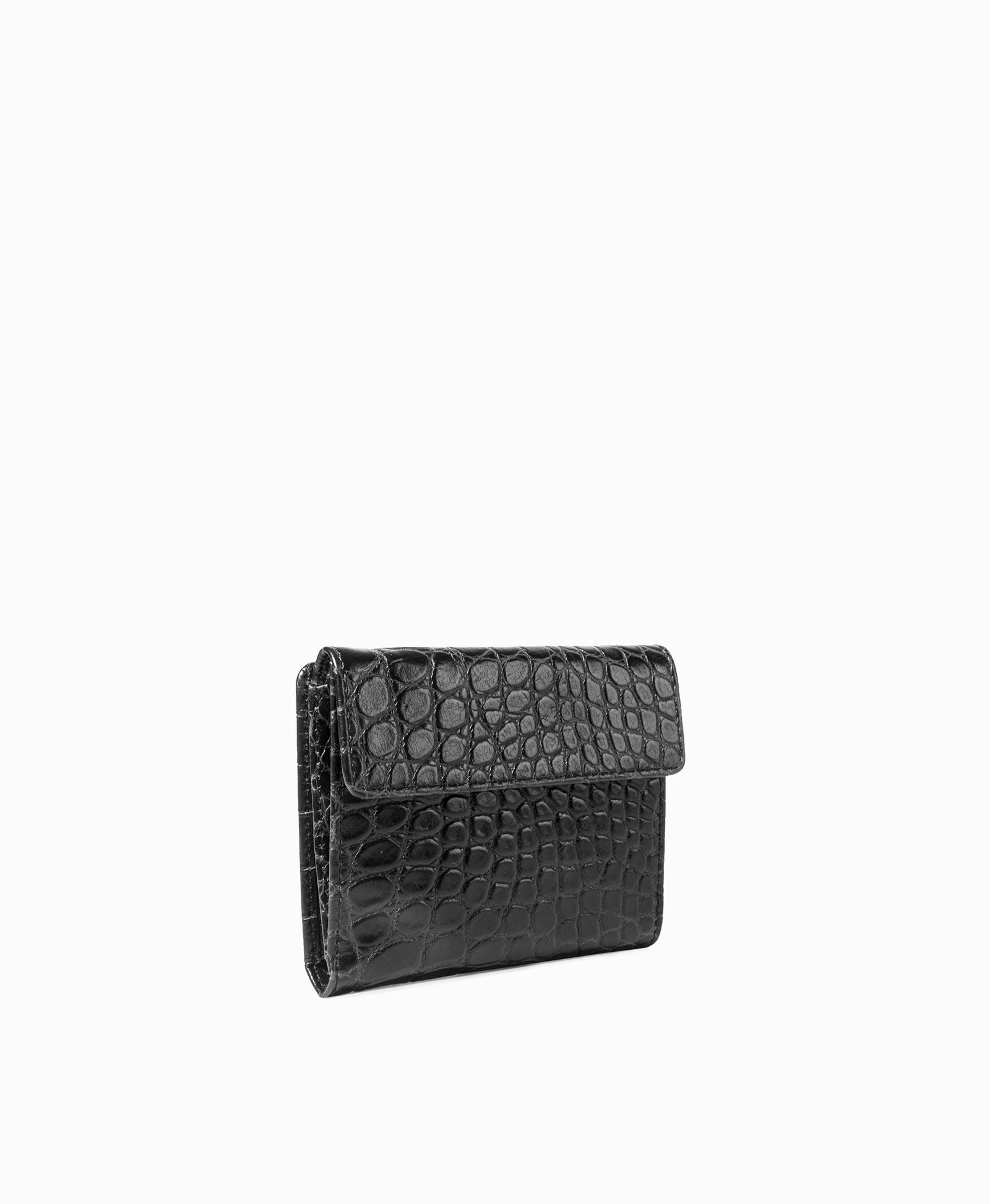 ca479af8d856 Компактное женское портмоне из кожи, имитирующей фактуру крокодила, на  кнопке . Цвет: Графит